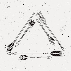 Vector tribal frame with ethnic arrows. American indian motifs.