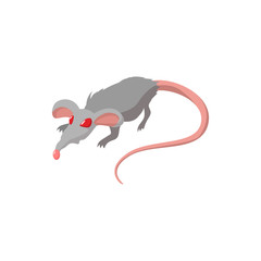 Rat with red eyes cartoon icon