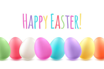 Colorful easter eggs holiday background.