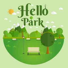 Hello Park. Natural landscape in the flat style. a beautiful park.Environmentally friendly natural landscape.Vector illustration