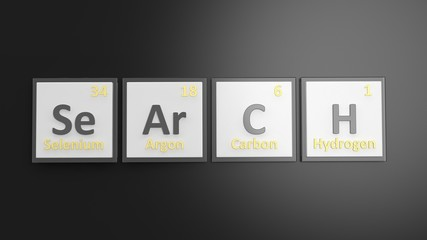 Periodic table of elements symbols used to form word Search, isolated on black