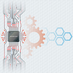 Abstract design technology background; Electronic Chip connected at circuits board with cogwheels and hexagons behind; Hexagons pattern in background; Large space for text