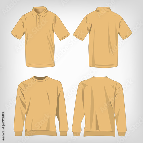 Sport light brown sweater and polo shirt isolated set for Light brown polo shirt