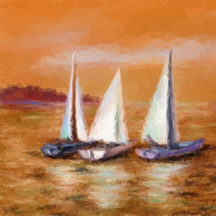 Landscape, Sailboats Yachts Floating in the Sea, Low Poly Picture. Vector