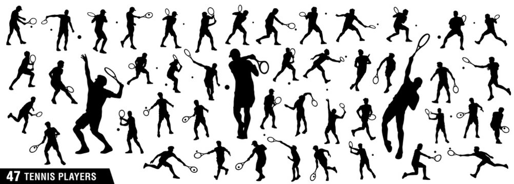 Tennis silhouettes, Vector set of tennis players