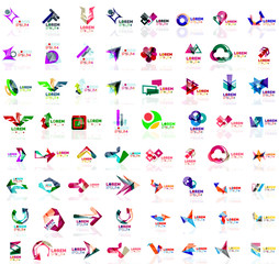 Mega set of paper logo abstract geometrical shapes