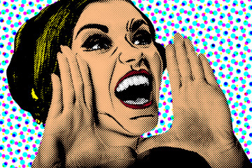 Pop art comic style woman, retro poster