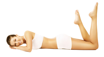 Woman Body Beauty Model White Underwear Lying