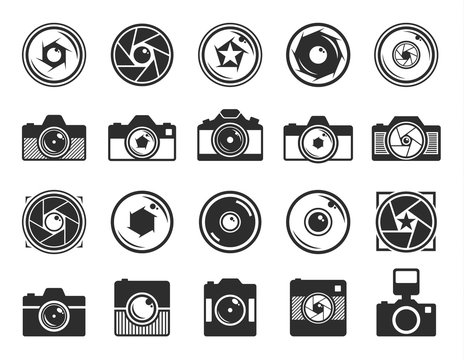 Camera shutter and photo camera icons isolated on white