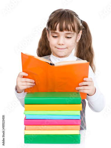 Small Girl Reading Books Isolated On White Background