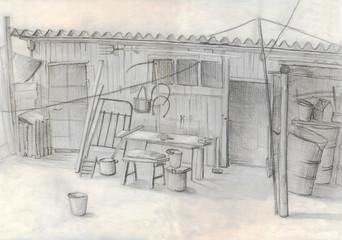 rustic barn. pencil drawing. sketch