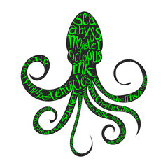 Typography lettering octopus