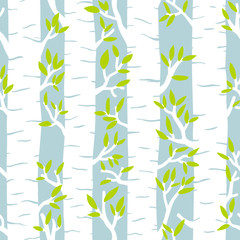 Seamless vector pattern with birch trees in the forest.