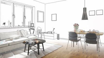 Wohn- und Esszimmer (Planung)