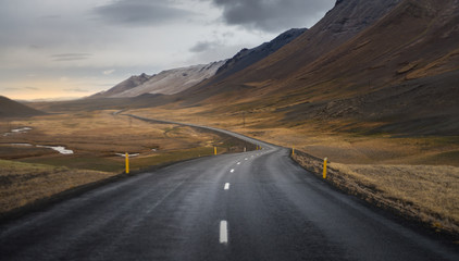 Dark asphalt road perspective with yellow field hill and mountain range background in Autumn season Iceland