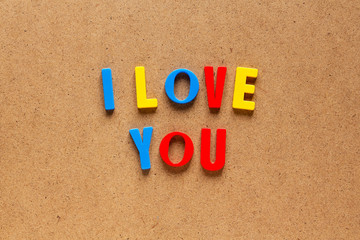 I love you text on cardboard background