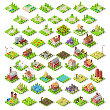 City Map Set Tiles Isometric Vector