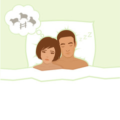 insomnia, sleeping anxiety, vector  illustration