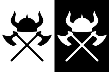 Viking helmet and axes.  icon