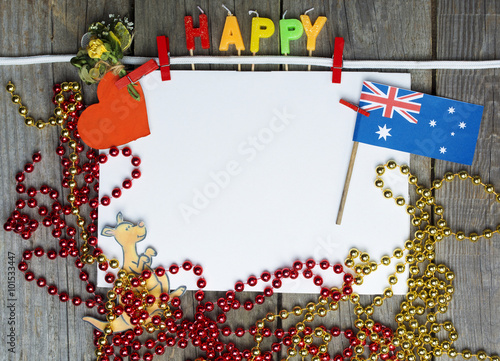 Celebrate party invitation holiday happy australia message greeting celebrate party invitation holiday happy australia message greeting australian flag hanging toned collage m4hsunfo