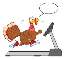 Smiling Turkey Cartoon Character Running On A Treadmill With Speech Bubble