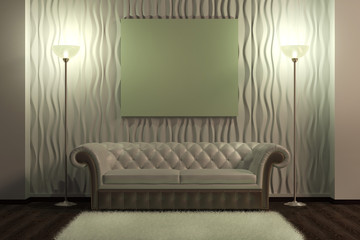 Blank picture on a leather sofa in interior