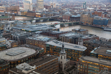 Panoramic view City of London at sunset. River Thames and London bridge