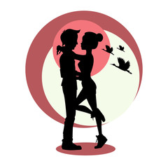 Silhouette of young couple in love. Vector