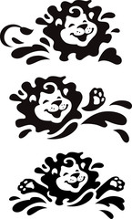 Swimming and splashing lionet