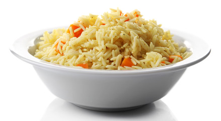 Dish of vegetarian rice isolated on white