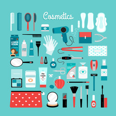 Big set of cosmetics and other essentials for  woman