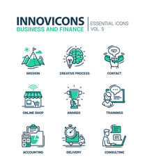 Office, business modern thin line design icons and pictograms