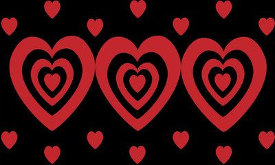 Hearts of Love in black and red