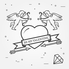 Happy Valentine's Day greetings card, labels, badges, symbols, i