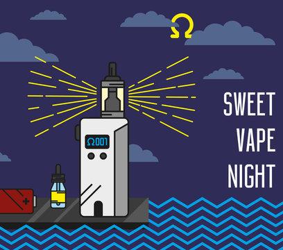 Vector flat linear illustration - vape lighthouse in night cloud coast