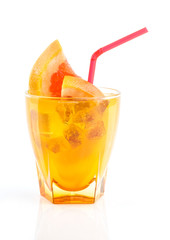 orange and grapefruit juice in glass ower white background
