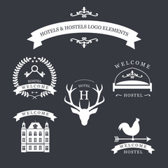 Vintage emblem with deer, kyes, weather vane, bed and old building for your hotel and hostel logo.