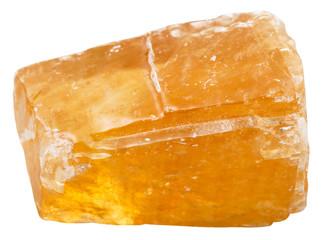 orange Calcite mineral stone isolated on white