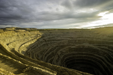Diamond mining pit in the town of Lucky, Yakutia, Russia. ALROSA.