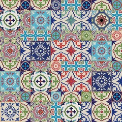 Garden Poster Moroccan Tiles Mega Gorgeous seamless patchwork pattern from colorful Moroccan tiles, ornaments. Can be used for wallpaper, pattern fills, web page background,surface textures.