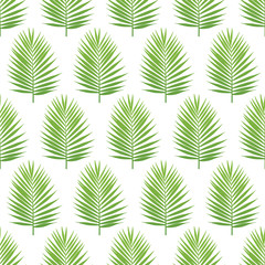Palm leaf silhouette seamless pattern. Tropical leaves. Vector illustration