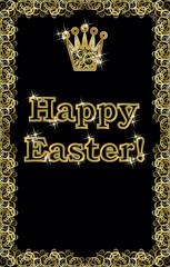 Happy Easter golden crown banner, vector illustration