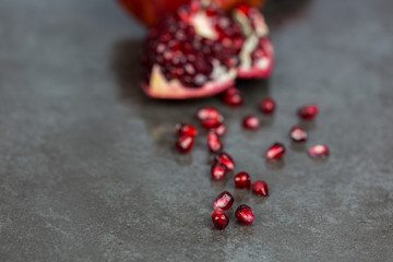 Split Pomegranate with Juicy Seeds