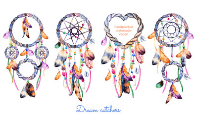Hand drawn illustration of 4 dreamcatchers.Ethnic illustration with native American Indians watercolor dreamcatcher.Boho style. Parfect for Happy Valentines Day, print,diyprojects,print,greeting card
