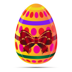 Easter eggs with decorative elements and ribbon, illustration