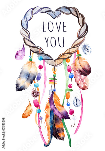 hand drawn illustration of dreamcatcher ethnic illustration with