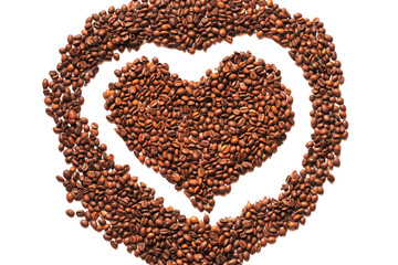 Coffee bean heart on a white background.