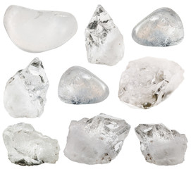 rock crystal (clear quartz) stone and tumbled gems