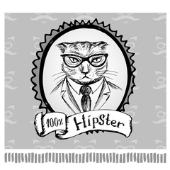 Hipster cat in frame, hand drawing