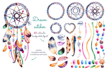 Watercolor hand painted collection with 40 elements:feathers,ribbons,shells,beads,strings of pearls and other decorations + 1 dream catcher pre-made for use.Create your own dreamcatcher!Hand drawn set